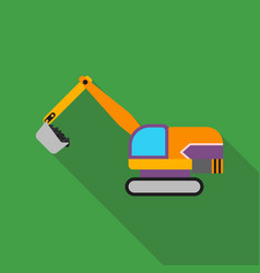 excavator icon in flat style isolated on white vector image