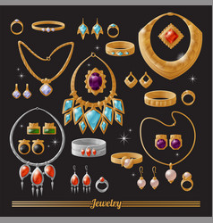 Expensive luxurious gold and silver jewelry set vector