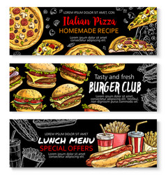 Fast food menu special offer chalkboard banner set vector