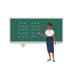 Female math teacher writing mathematical vector