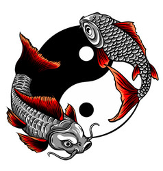 Fish yin yang logo design vector