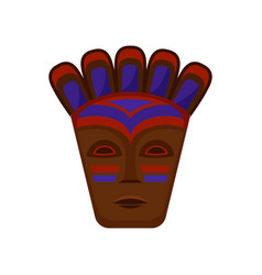 Flat icon of ethnic wooden mask vector