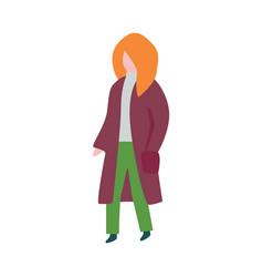flat senior woman outdoor autumn clothing vector image