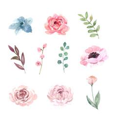 Flower wedding element design watercolor on white vector