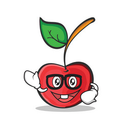 Geek face cherry character cartoon style vector