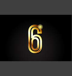 gold number 6 logo icon design vector image