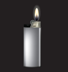 gray lighter with fire vector image
