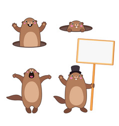 groundhog set 3 cartoon outlines vector image
