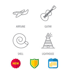 Guitar airplane and lighthouse icons vector