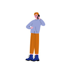 guy in modern clothing talking on smartphone vector image