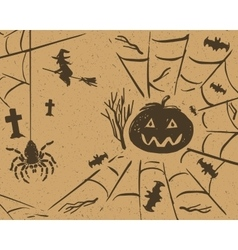 Halloween sketch design set on retro grunge vector