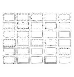Hand drawn line photo frame borders set vector