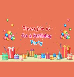 Happy birthday party with birthday element vector