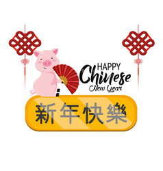 happy chine year and pig with decoration vector image
