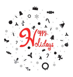 Happy holiday with christmas icon vector image