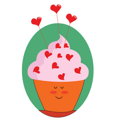heart cupcake on white background vector image