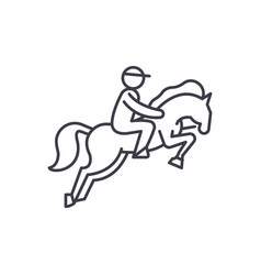 horse racing line icon concept horse racing vector image