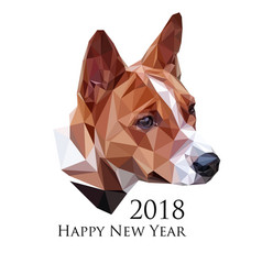 image of basenji dog in low polygonal style vector image