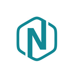 initial n hexagon logo vector image