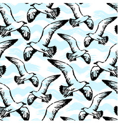 ink hand drawn seamless pattern with flying vector image