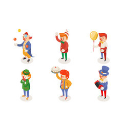 isometric fun clowns characters icon set isolated vector image