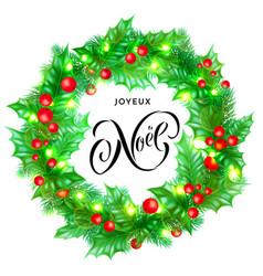 joyeux noel french merry christmas holiday hand vector image