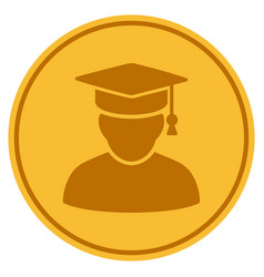 Knowledge man gold coin vector