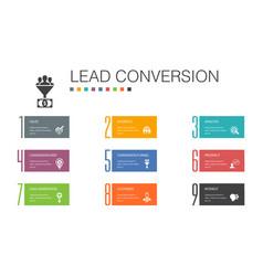 Lead conversion infographic 10 option line concept vector