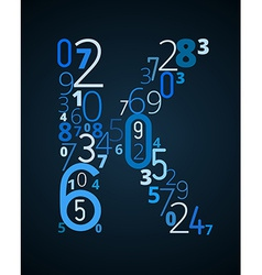 Letter k font from numbers vector