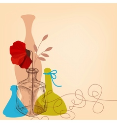 Lifestyle with flower vases and bottles vector image