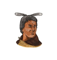 Maori chief warrior bust watercolor vector