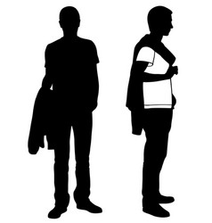 men with jacket on shoulder and in hand vector image