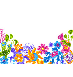 Mexican background with cute naive art items vector