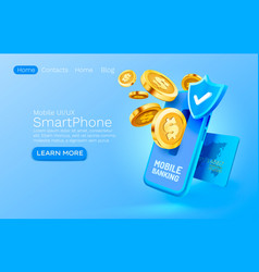 mobile banking service financial payment vector image
