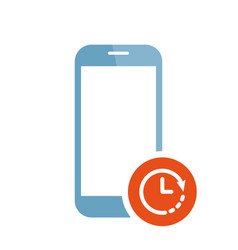 mobile phone icon with clock sign vector image