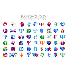 modern head sign set of psychology profile human vector image