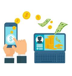 money transfer computer concept vector image