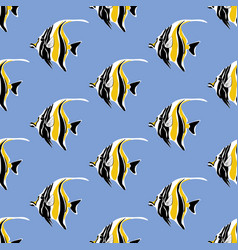 moorish idol fish seamless pattern vector image