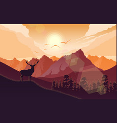 Mountains landscape with deer on hills at sunset vector