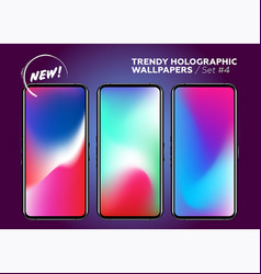 multicolor holographic wallpapers for smartphone vector image