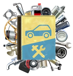Old car repair book with car spares vector