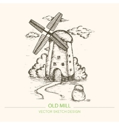 Old mill in retro sketch style vintage vector image