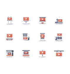 outdoor video advertising flat icons set vector image