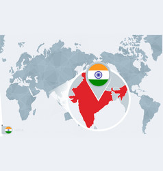 Pacific centered world map with magnified india vector