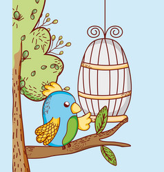 Parrot out cage doodle cartoon vector