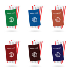 Passport with air ticket in different colors vector