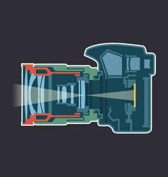 Photo camera dissection scheme vector