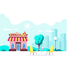 pizza restaurant building vector image