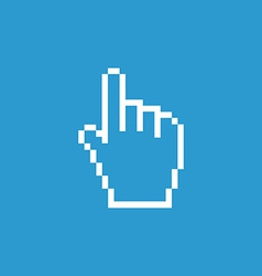 Pointer pixel cursor icon white on the blue vector