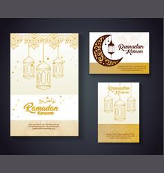Ramadan kareem card with lanterns hanging and moon vector